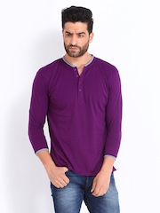 FREECULTR Men Purple Henley T-shirt