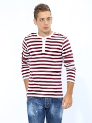 FREECULTR Men White & Maroon Striped Henley T-shirt