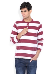 Men White & Maroon Striped Henley T-shirt FREECULTR