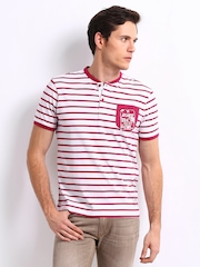 FREECULTR Men White & Pink Striped Hampton T-shirt