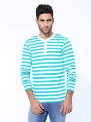 Men White & Sea Green Striped Henley T-shirt FREECULTR