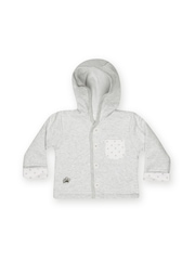 Infant Boys Grey & White Hooded Striped Jacket FS Mini Klub
