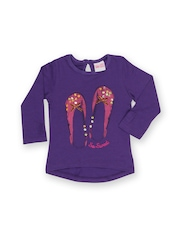 FS Mini Klub Girls Purple Printed T-shirt