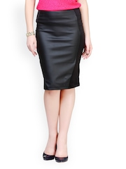 FabAlley Black Leather Pencil Skirt