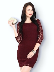FabAlley Burgundy Lace Sonnet Sheath Dress