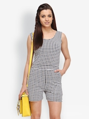 FabAlley Women Black & White Houndstooth Printed Playsuit