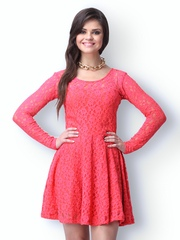 FabAlley Coral Pink Lace True Romance Skater Dress