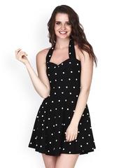 FabAlley Black Printed Skater Dress