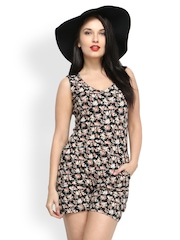 FabAlley Women Black Floral Printed Playsuit