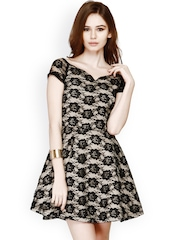 FabAlley Black Lace Skater Dress