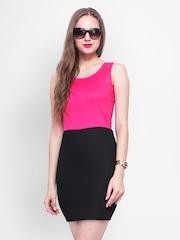 FabAlley Pink & Black Sheath Dress