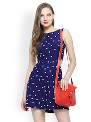 FabAlley Navy Blue Polka Dot Print Cutaway Skater Dress