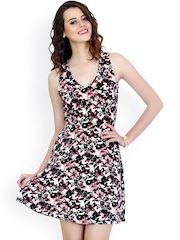 FabAlley White & Black Printed Skater Dress