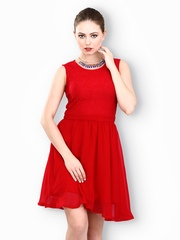 FabAlley Red Moonlight Lace Fit & Flare Dress