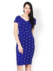 FabAlley Women Blue Printed Midi Dress
