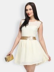 FabAlley Off-White Fit & Flare Dress