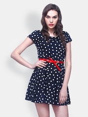 FabAlley Black Polka Dot Printed Skater Dress