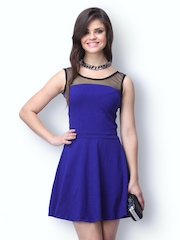 FabAlley Blue Mesh Mire Skater Dress
