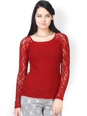 FabAlley Women Red Lace Top