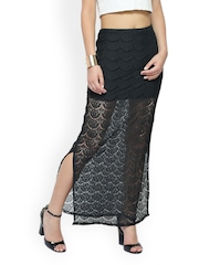FabAlley Black Lace Maxi Skirt
