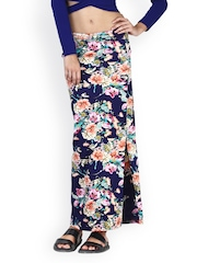 FabAlley Women Blue Floral Print Maxi Skirt