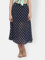 FabAlley Navy Blue & White Polka Dot Printed Flared Skirt