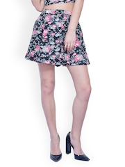 FabAlley Black Floral Print Flared Skirt