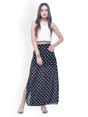 FabAlley Black Polka Dot Print Maxi Skirt