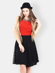 FabAlley Black Lace Flared Skirt