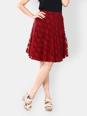 FabAlley Red Lace Flared Skirt