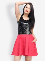 FabAlley Coral Pink Flared Skirt