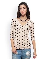FabAlley Women Beige Polka Dot Printed Top