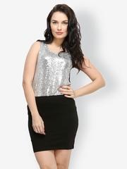 FabAlley Women Silver Toned Top