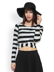 FabAlley Women Black & White Striped Crop Top