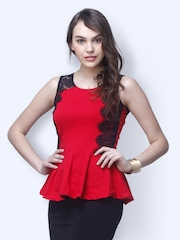 FabAlley Women Red Lace Lark Peplum Top
