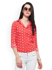 FabAlley Women Coral Red Polka Dot Print Top