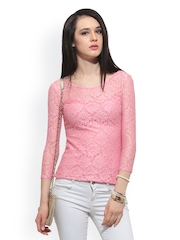 FabAlley Women Pink Lace Top