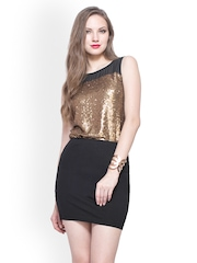 FabAlley Women Gold Toned Sequinned Top