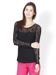 FabAlley Women Black Lace Top