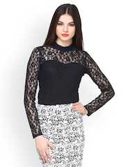 FabAlley Women Black Lace Top