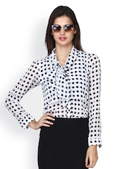 FabAlley Women White Polka Dot Print Top