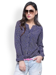 FabAlley Women Blue Polka Dot Print Top