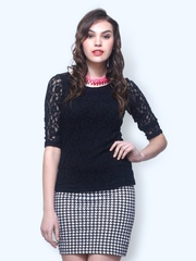 FabAlley Women Black Fleur Lace Top