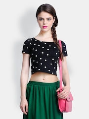 FabAlley Women Black Polka Dot Printed Crop Top