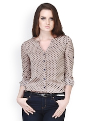 FabAlley Brown Polka Dot Printed Shirt