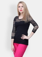 FabAlley Women Black Lace Smitten Top