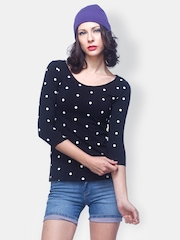 FabAlley Women Black Polka Dot Printed Top