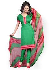 Fabdeal Green & Pink Printed Crepe Unstitched Dress Material