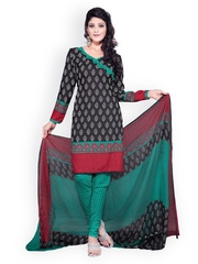 Fabdeal Black & Green Printed Crepe Unstitched Dress Material