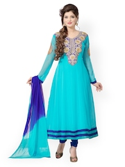 Fabdeal Turquoise Blue & Navy Anarkali Georgette Semi-Stitched Dress Material
